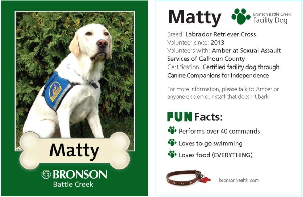 Matty Pet Therapy Trading Card