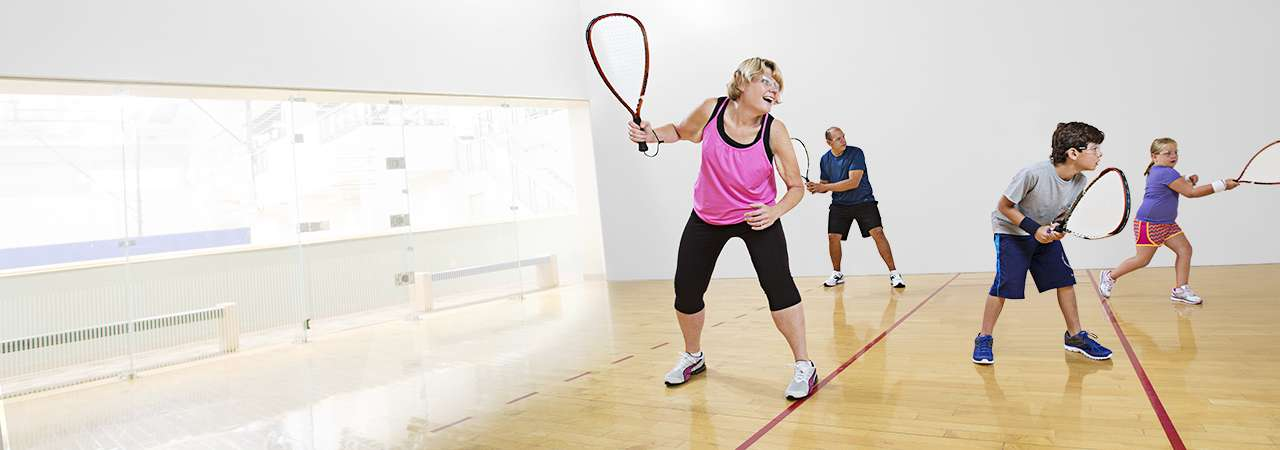 Cheryl Yonkers and family playing racquetball