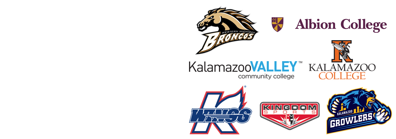 WMU Broncos, Albion College, Kalamazoo Valley Community College, Kalamazoo College, K Wings, Kingdom Sports and Kalamazoo Growlers logos