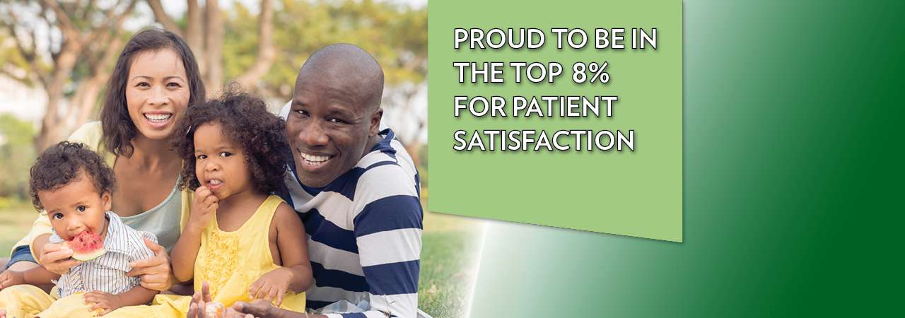 Proud to be in the top 8 percent for patient satisfaction