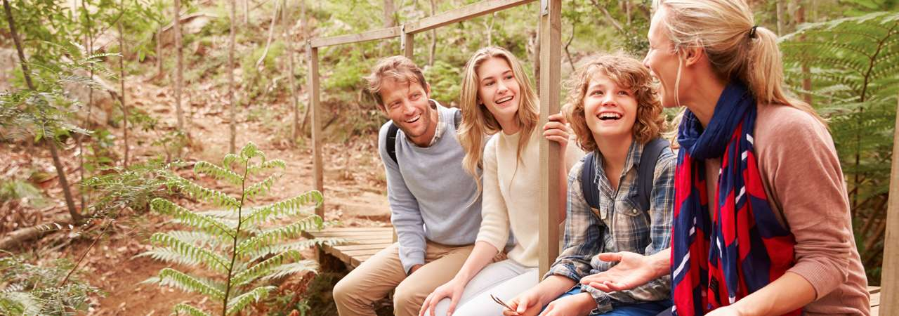 image of family sitting on a bridge in the forest talking
