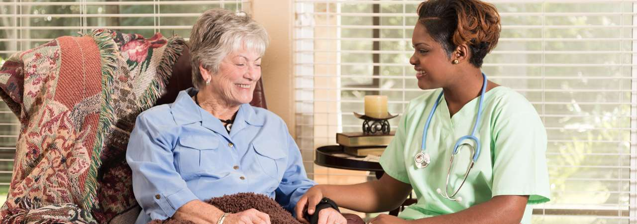 image of adult patient with home healthcare nurse house call