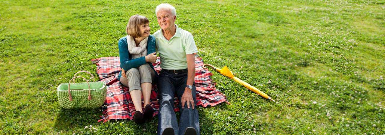Image of elderly couple sitting on a blanket in the park.