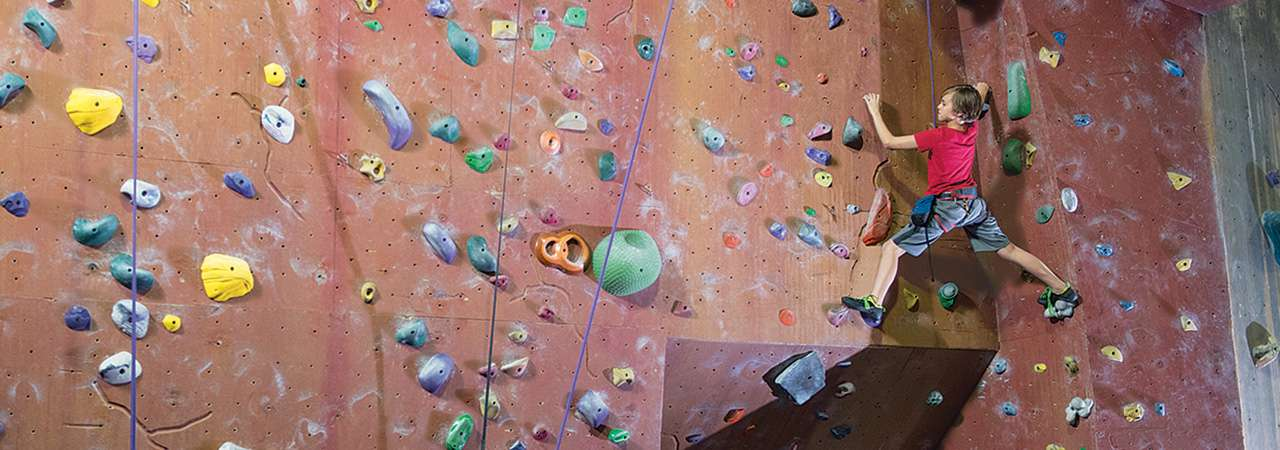 Image of boy climbing a rock wall.