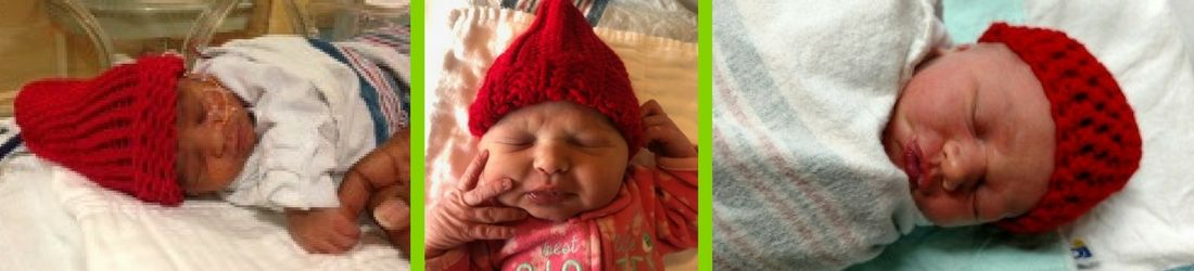 Photo of three babies from the Bronson Birthplace and NICU in red hats