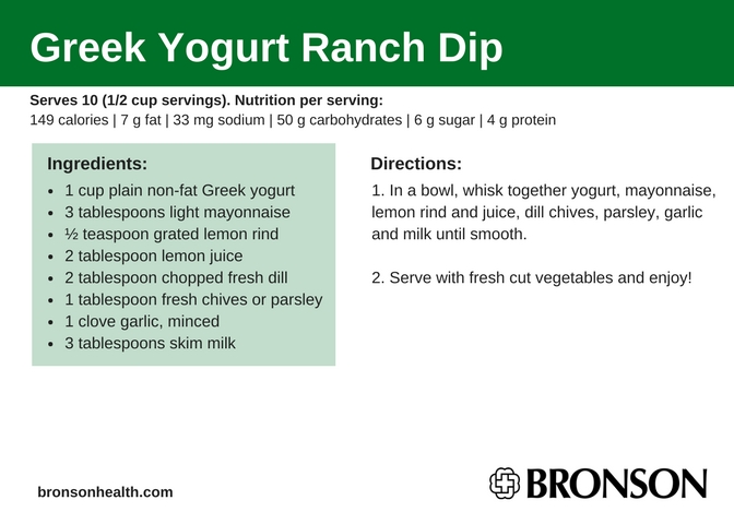 To view more healthy recipes and nutrition-related information from the  nutrition experts at Bronson, click here.
