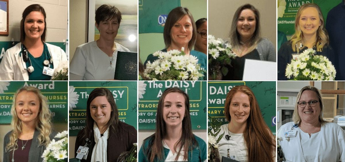 Picture of the ten DAISY Award winners from the Bronson Healthcare System