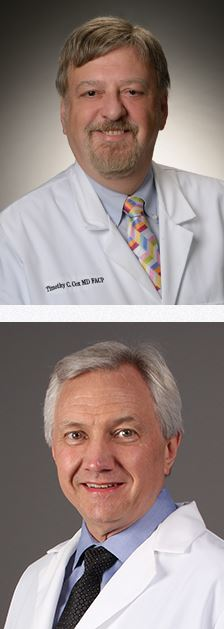Headshots of doctors Tim Cox and William Spencer