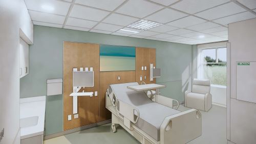 Photo of New Bronson South Haven Inpatient Room.