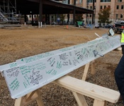 Photo of the final steal beam to be placed on top of Bronson's new cancer pavilion.