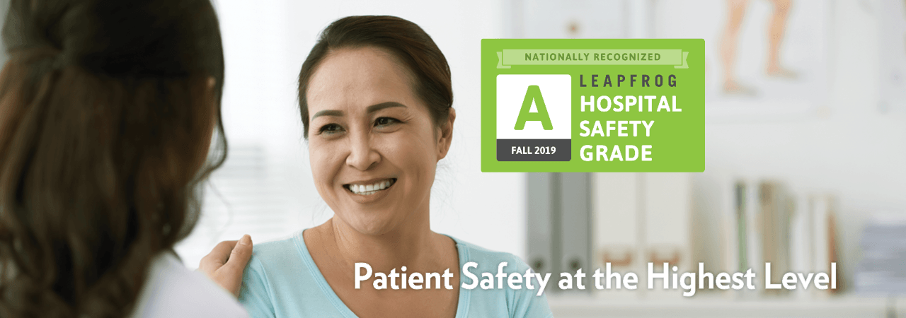 Graphic badge: Bronson Battle Creek. Nationally Recognized Leapfrog Hospital Safety Grade A - Fall 2019.