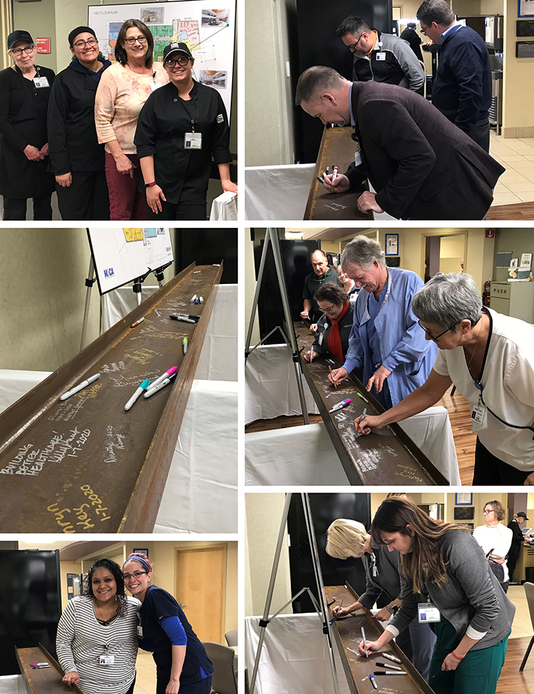 Collage of employees signing construction beam