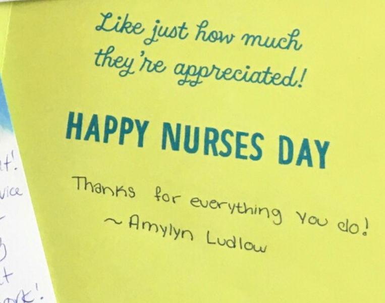 Image of a card written by a young community member to Bronson's healthcare heroes