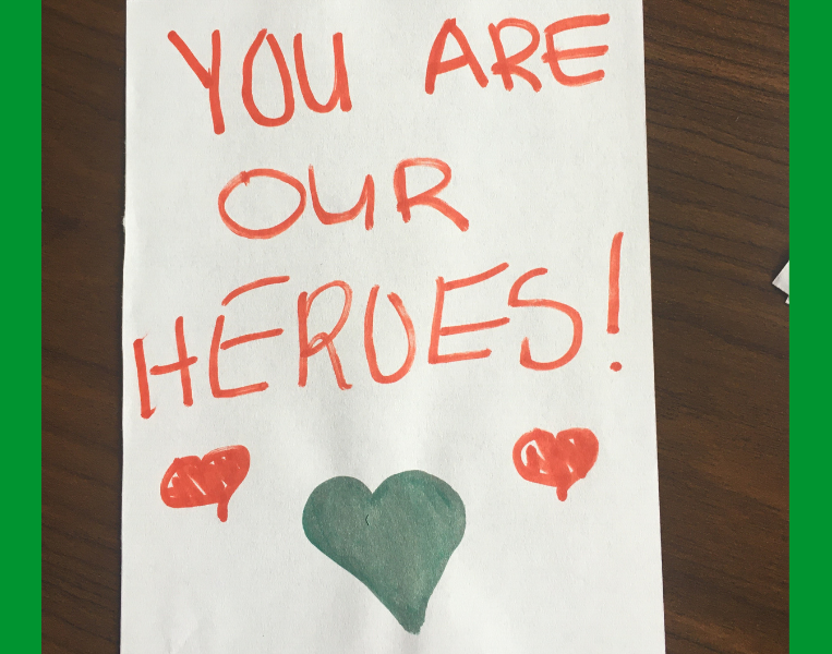Image of a card written by a community member to Bronson's healthcare heroes