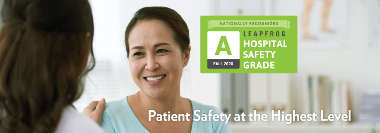 Graphic badge: Bronson Battle Creek. Nationally Recognized Leapfrog Hospital Safety Grade A - Fall 2020.